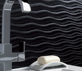 Showerwall Black Wave design offers design twist on monochrome classic